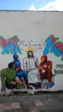 Jesus hanging with other superheroes...