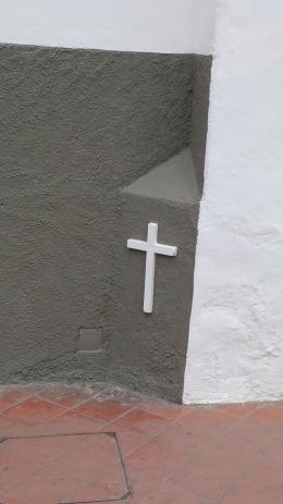 Cross in the street.