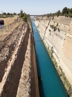 Corinth Canal, built in 1880, 4 miles long